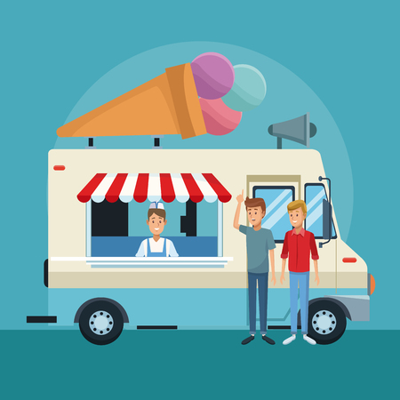 Ice cream truck with customers cartoons vector illustration graphic design Vectores