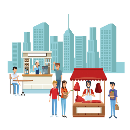 Lebensmittelstand und Geschäfte bei Stadtlandschaftskarikaturen Vektorillustrationsgrafikdesign Vektorgrafik