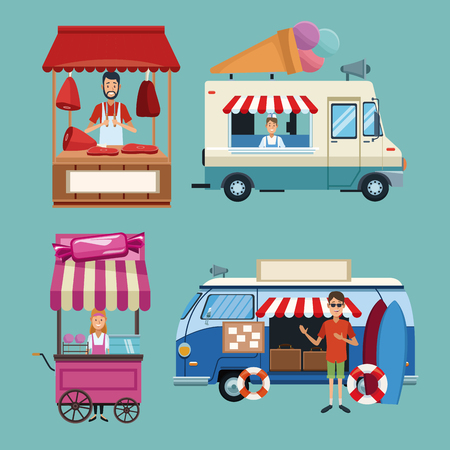 Set of food business booths collection vector illustration graphic design Çizim