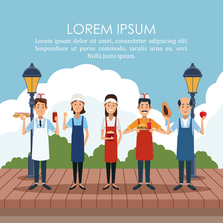 Food stand owners at park poster with information vector illustration graphic design