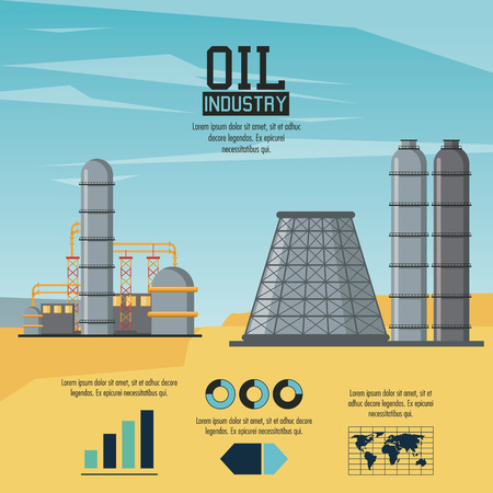 Oil industry infographic with elements and statistics vector illustration graphic design