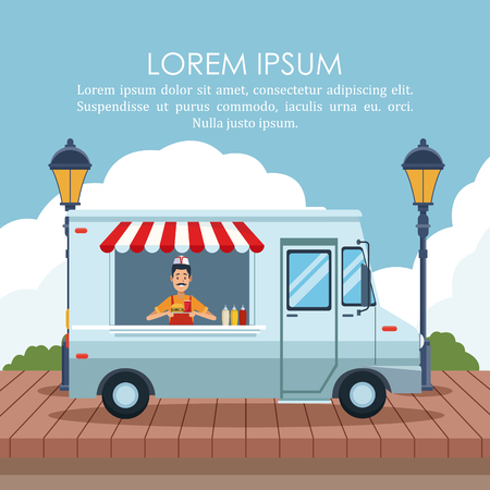 Food stand at park poster with information vector illustration graphic design