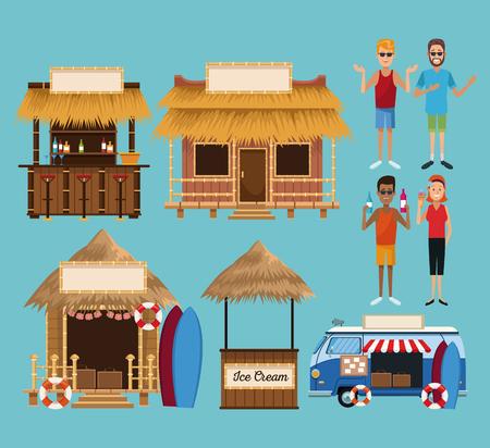 Set of beach kiosk cartoons collection vector illustration graphic design  イラスト・ベクター素材