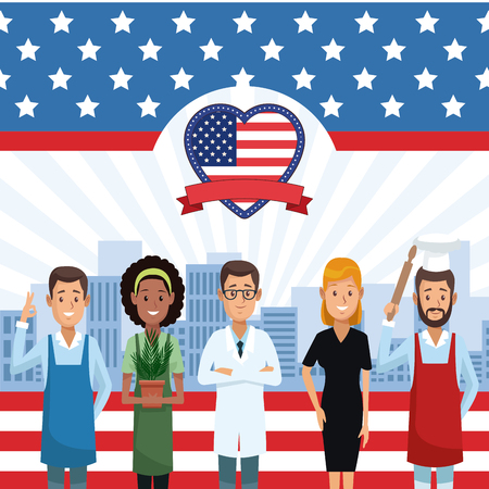Happy labor day card with jobs and proffesions cartoons vector illustration graphic design