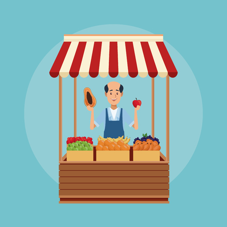 Grocery street stand cartoon over blue background vector illustration graphic design