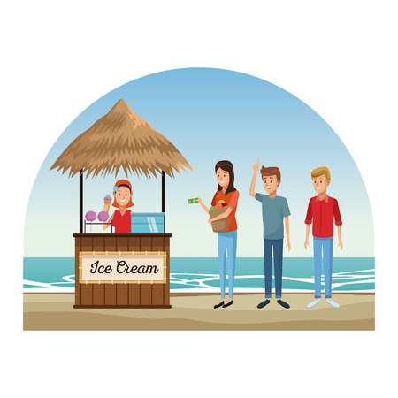 People having fun on beach kiosks vector illustration graphic design Illusztráció
