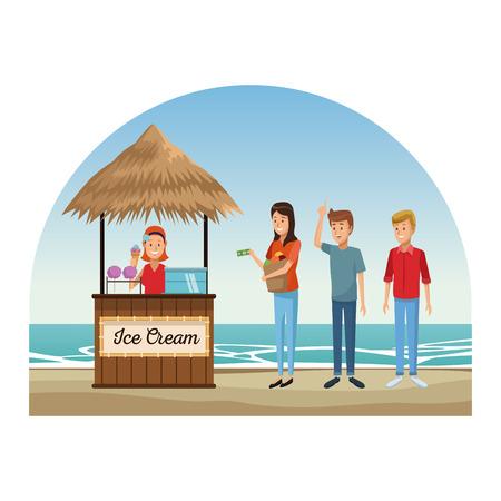 People having fun on beach kiosks vector illustration graphic design Illustration
