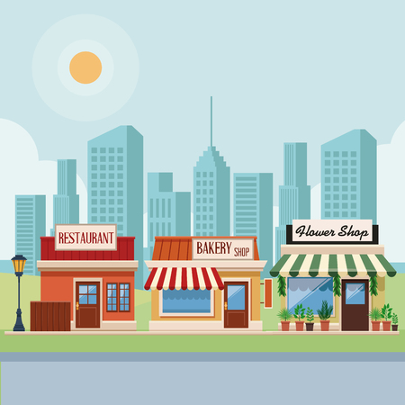 Stores and restaurants at city scenery vector illustration graphic design