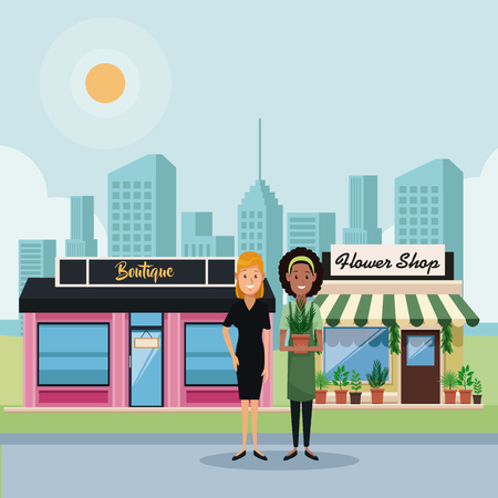 Boutique and hower Stores with businesswomens at city vector illustration graphic design 矢量图像