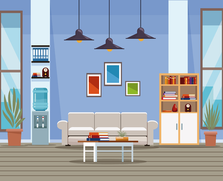 Office interior scenery with furniture and elements vector illustration graphic design