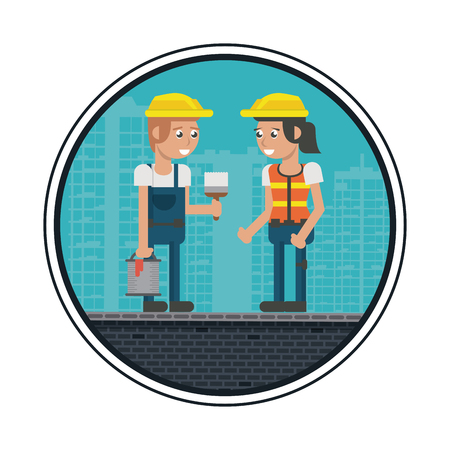 Construction workers geometric cartoons round icon vector illustration graphic design Illustration