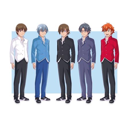 Hombres jóvenes amigos dibujos animados de anime sobre fondo de marco ilustración vectorial diseño gráfico Ilustración de vector