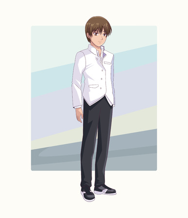 Young man manga anime cartoon over frame background vector illustration graphic design