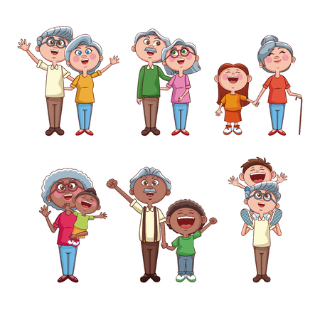 Set of grandparents with kids cartoons collection vector illustration graphic design
