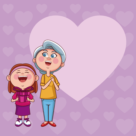 Grandmother and niece with giftbox with heart frame card vector illustration graphic design Illustration