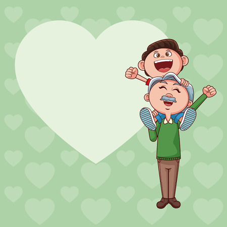 grandfather with nephew on shoulder cartoon with heart frame card vector illustration graphic design