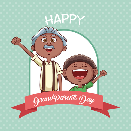 Happy grandparents day with grandfather and nephew cartoon vector illustration graphic design Illustration