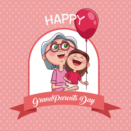 Happy grandparents day with grandmother and niece cartoon vector illustration graphic design