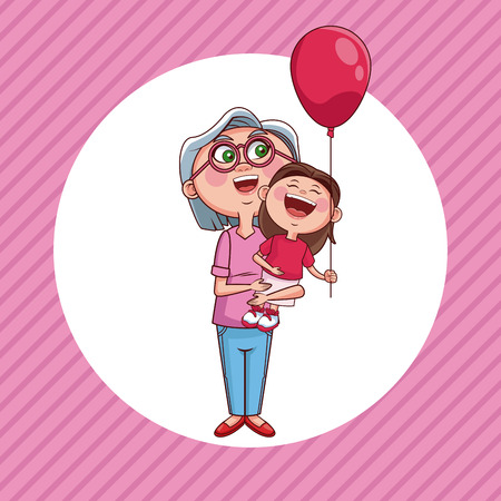 Grandmother holding niece with balloon cartoon round icon over striped background vector illustration graphic design 일러스트