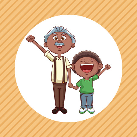 Grandfather and nephew cartoon round icon over striped background vector illustration graphic design Illustration