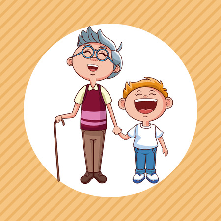 grandfather and nephew cartoon round icon over striped background vector illustration graphic design