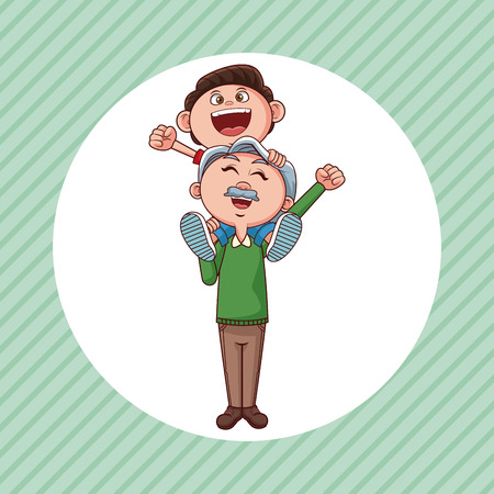 grandfather with nephew on shoulder cartoon round icon over striped background vector illustration graphic design