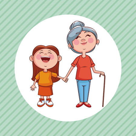 Grandmother and niece cartoon round icon over striped background vector illustration graphic design