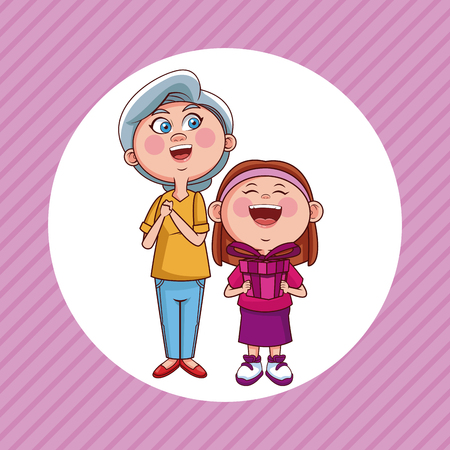 Grandmother and niece with giftbox cartoon round icon over striped background vector illustration graphic design Illustration