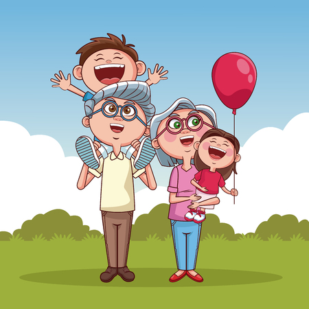 Grandparents with niece and nephew at park vector illustration graphic design