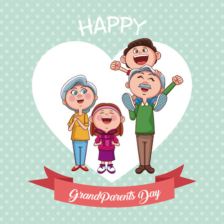 Happy grandparents day with nephew and niece cartoons vector illustration graphic design Illustration