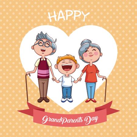 Happy grandparents day with nephew cartoon vector illustration graphic design