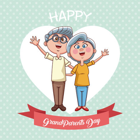 Happy grandparents day card with cute couple cartoon over heart background vector illustration graphic design Vetores