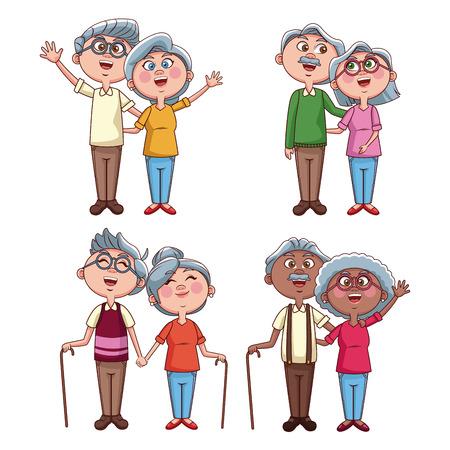 Set of grandarents couples cartoons on frames vector illustration graphic design Vetores