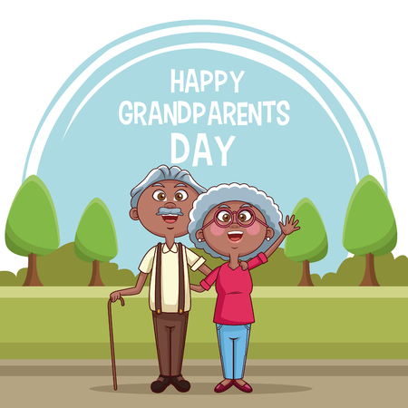Happy grandparents day card with cute couple at park cartoons vector illustration graphic design