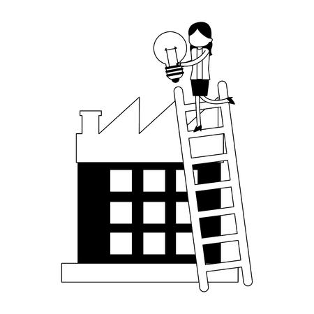 Imprenditrice su scale con lampadina e illustrazione vettoriale di fabbrica graphic design Vettoriali