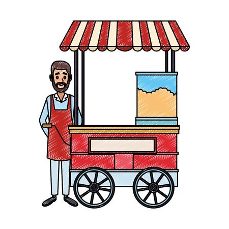 Man on popcorn booth vector illustration graphic design