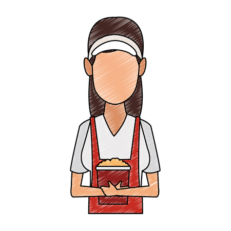 Young woman waiter with popcorn vector illustration graphic design Stock Illustratie
