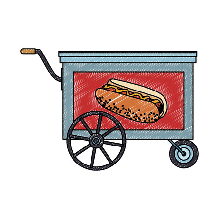Hot dog cart stand vector illustration graphic design