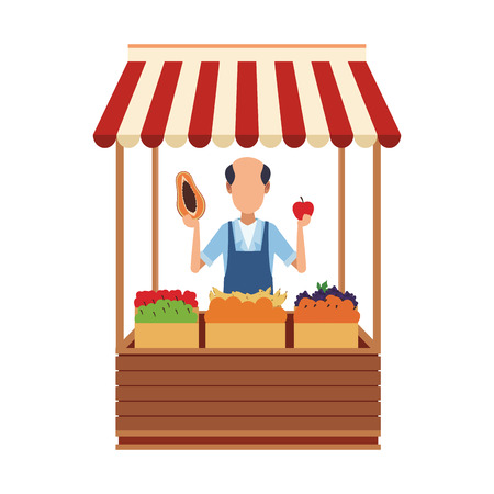 Shopkeeper with grocery stand vector illustration graphic design Banque d'images - 110328305