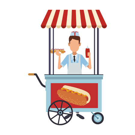 Cooker with hot dog stand vector illustration graphic design Illustration