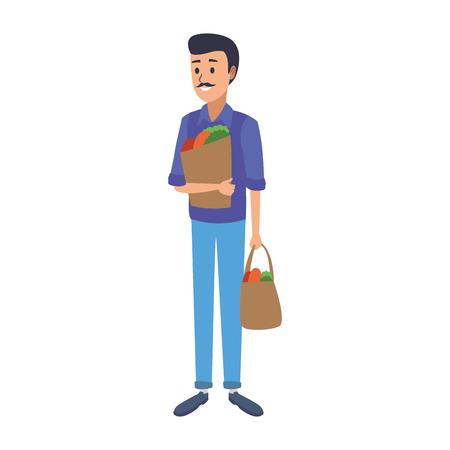 Homme tenant des sacs à provisions vector illustration graphisme Vecteurs