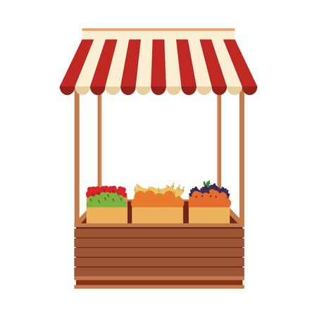 Conception graphique d'illustration vectorielle de support en bois d'épicerie