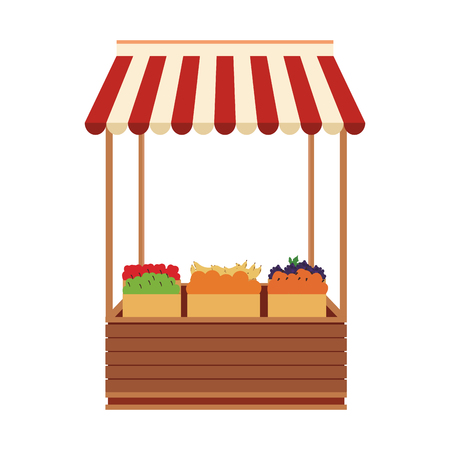 Groceries wooden stand vector illustration graphic design