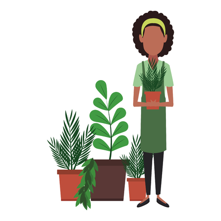 Woman holding plant pot vector illustration graphic design