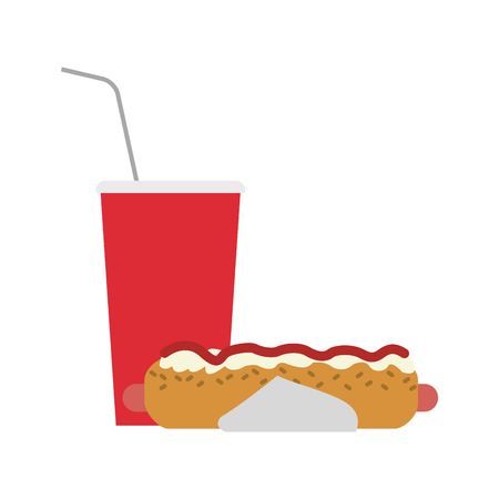Hot dog and soda cup vector illustration graphic design Ilustracja