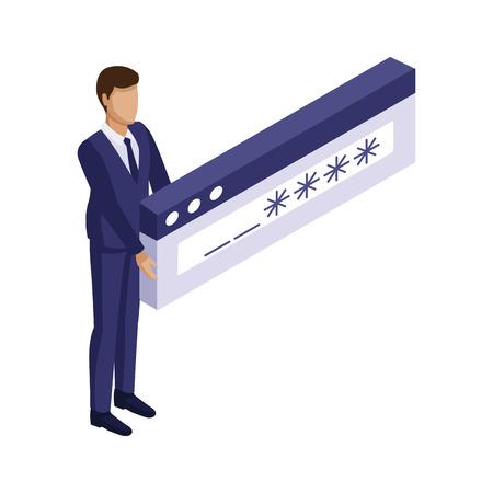 Homme d'affaires avec la conception graphique d'illustration vectorielle de mot de passe