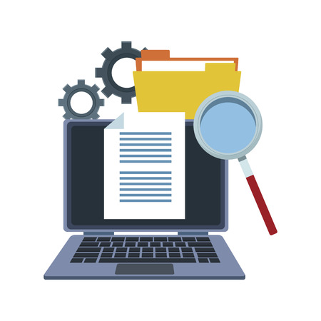 Laptop with documents and magnifying glass vector illustration graphic design