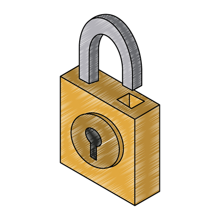 Padlock isometric symbol vector illustration graphic design