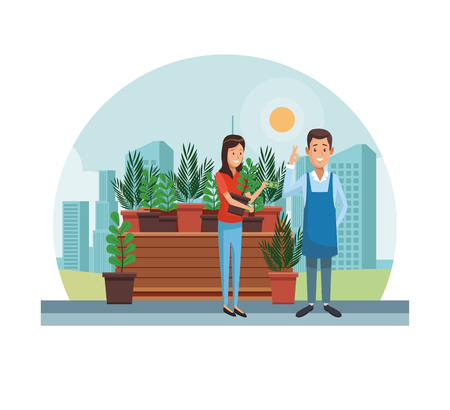 gardener selling plant pots at city vector illustration graphic design