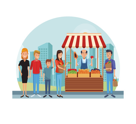 Grocery stand with owner and customers at city cartoons vector illustration graphic design
